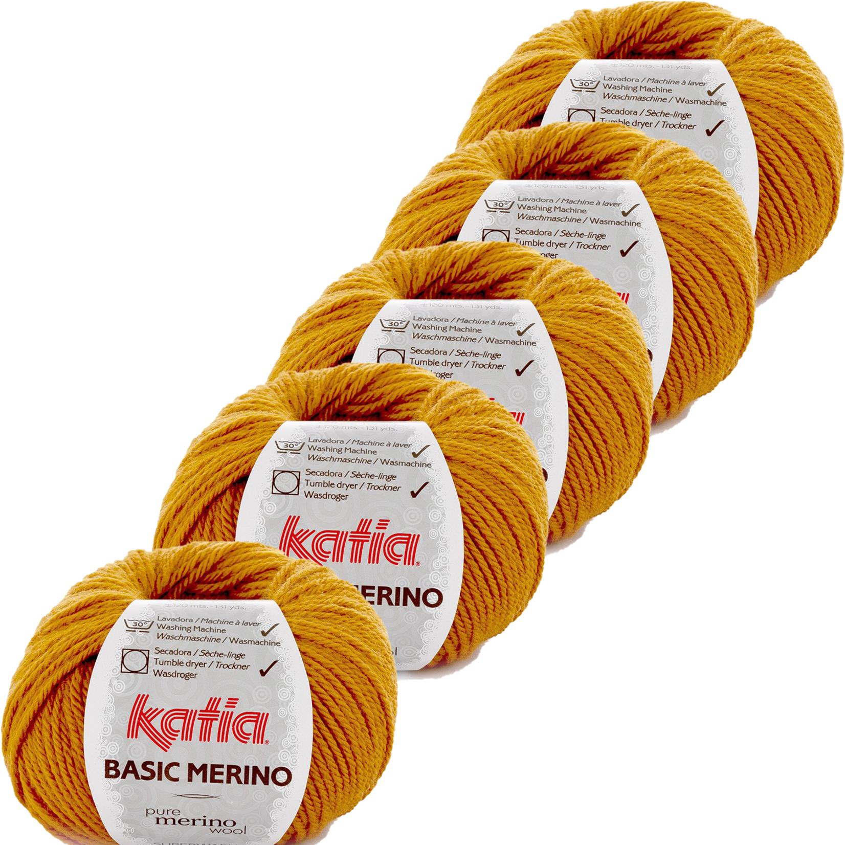 Katia Basic Merino - kleur 71_Oker - bundel 5 bollen 50 gr.  van 120 m.