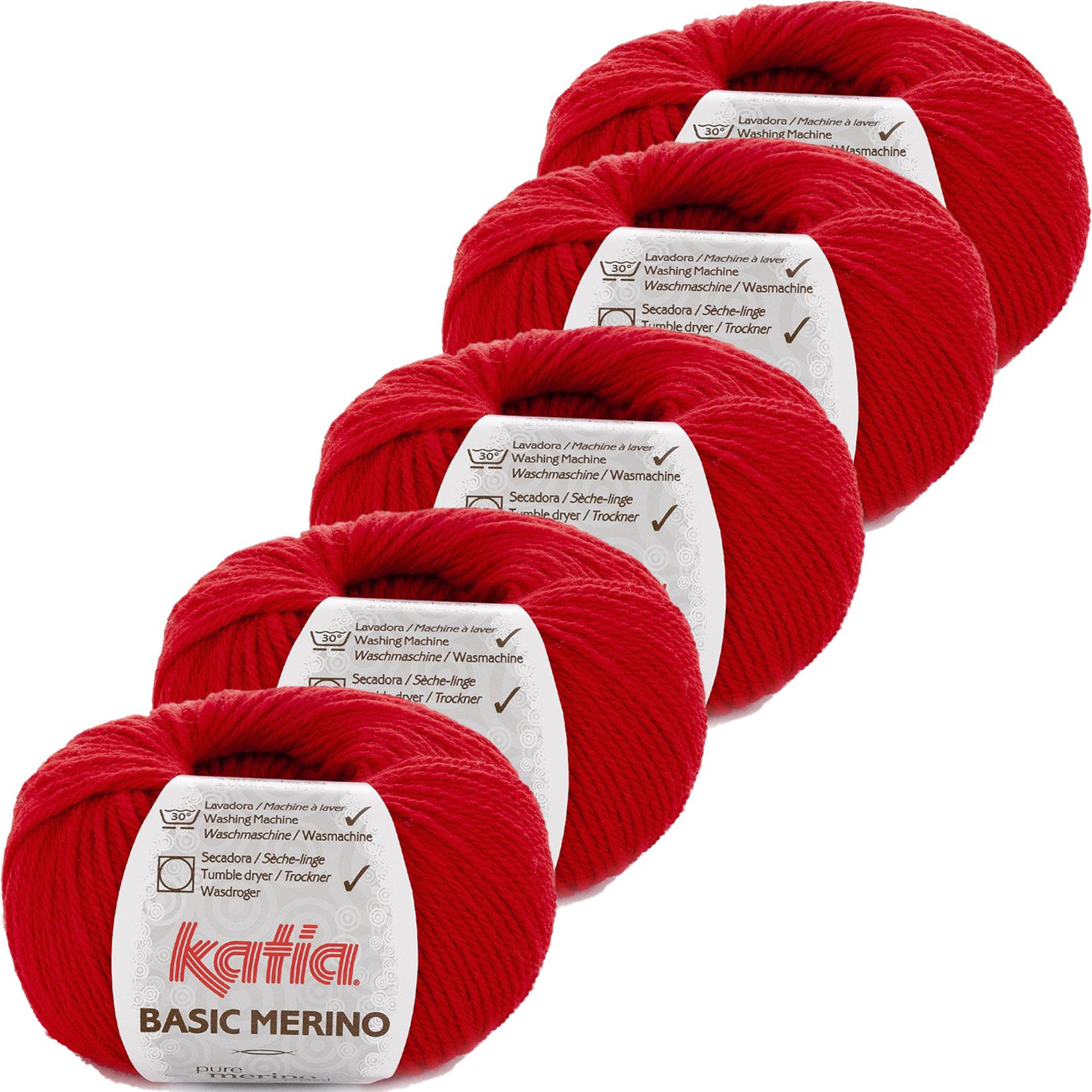 Katia Basic Merino - kleur 4_Rood - bundel 5 bollen 50 gr.  van 120 m.