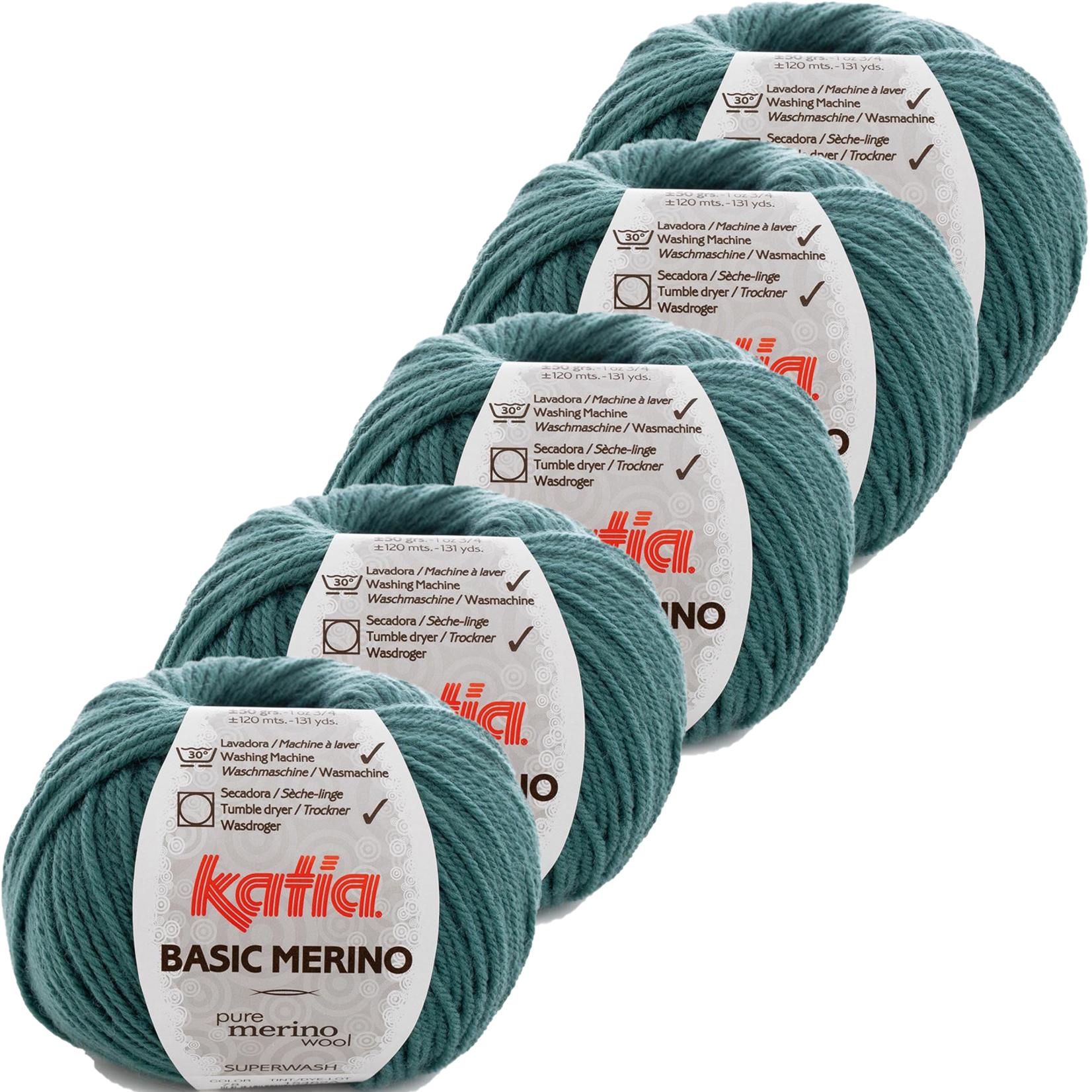 Katia Basic Merino - kleur 78_Smaragdroen - bundel 5 bollen 50 gr.  van 120 m.