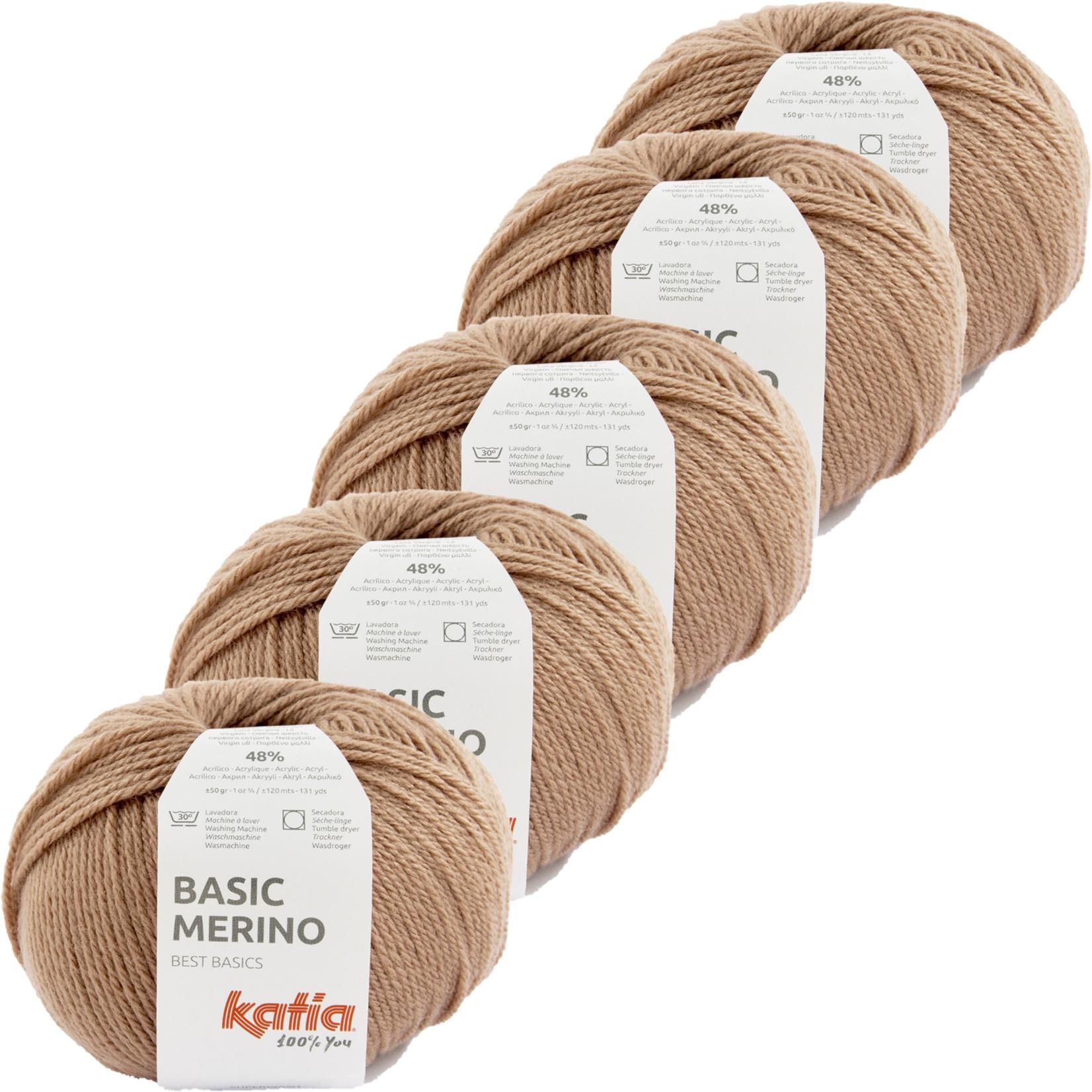 Katia Basic Merino - kleur 88_Terrabruin - bundel 5 bollen 50 gr.  van 120 m.