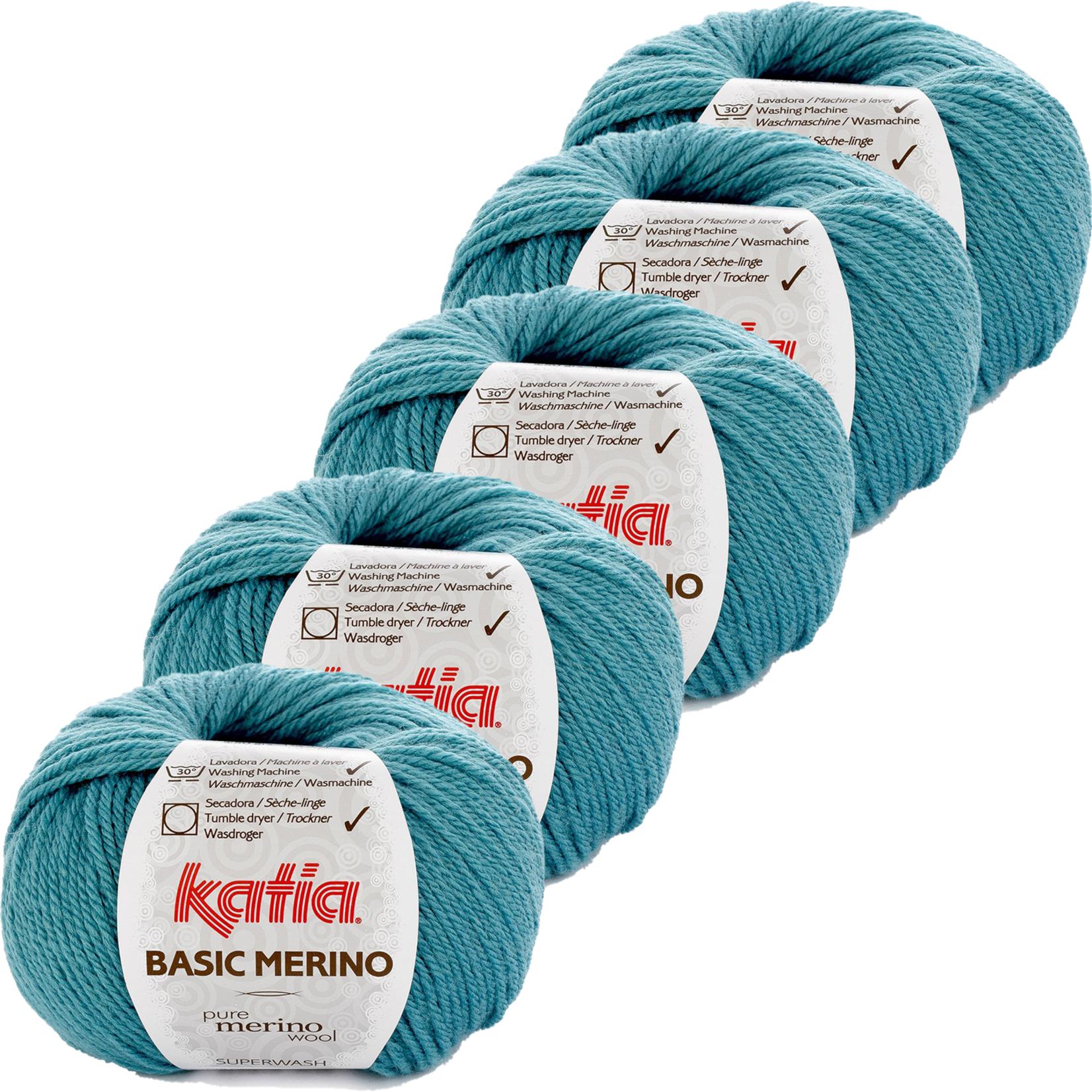 Katia Basic Merino - kleur 30_Turquoise - bundel 5 bollen 50 gr.  van 120 m.