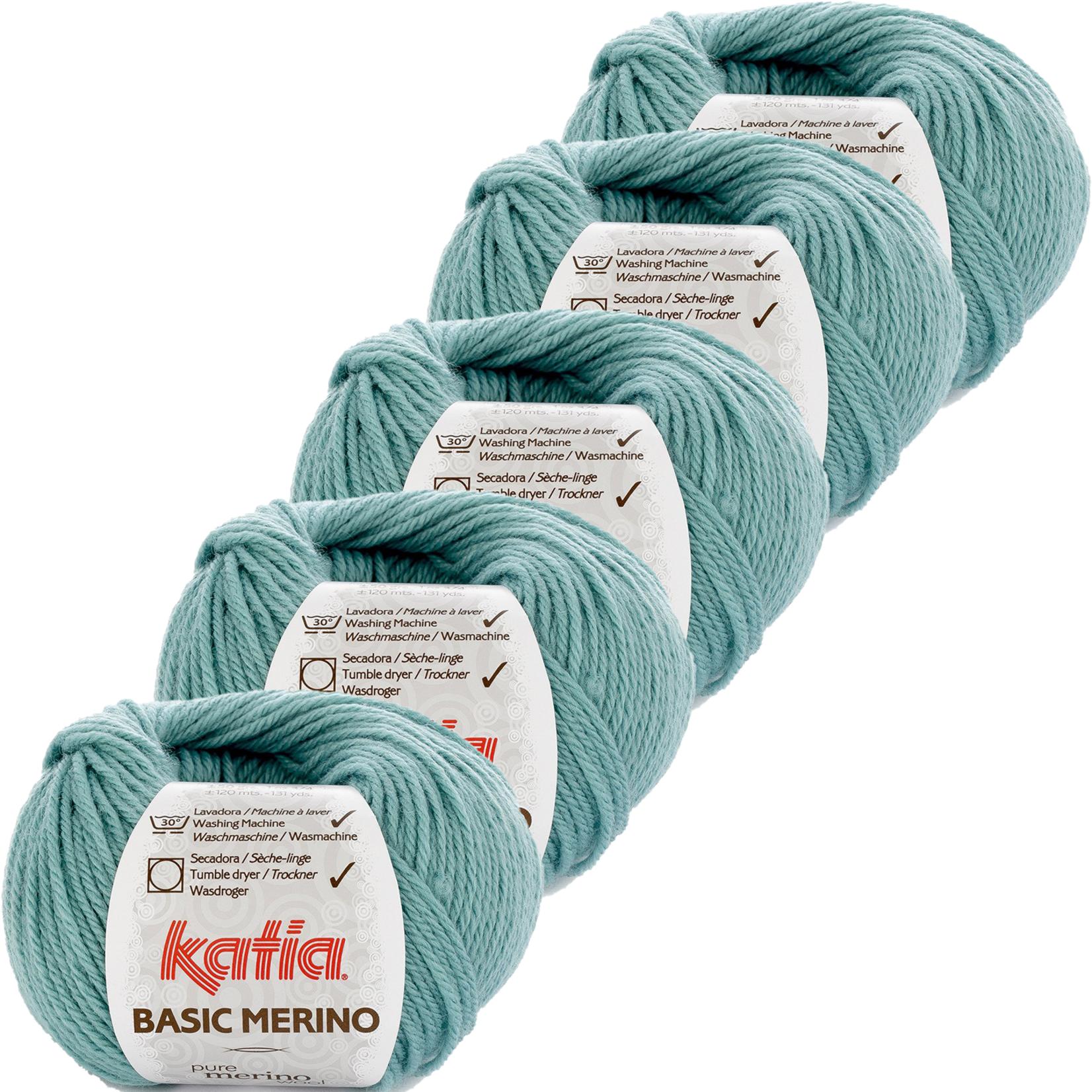 Katia Basic Merino - kleur 73_Waterblauw - bundel 5 bollen 50 gr.  van 120 m.