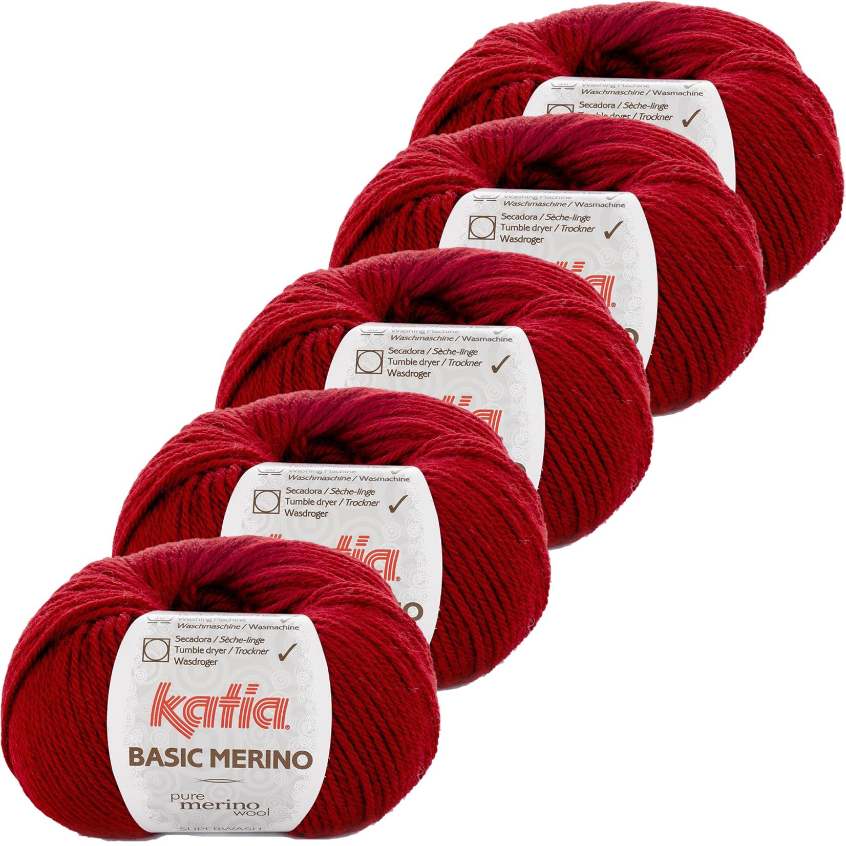 Katia Basic Merino - kleur 22_Wijnrood - bundel 5 bollen 50 gr.  van 120 m.