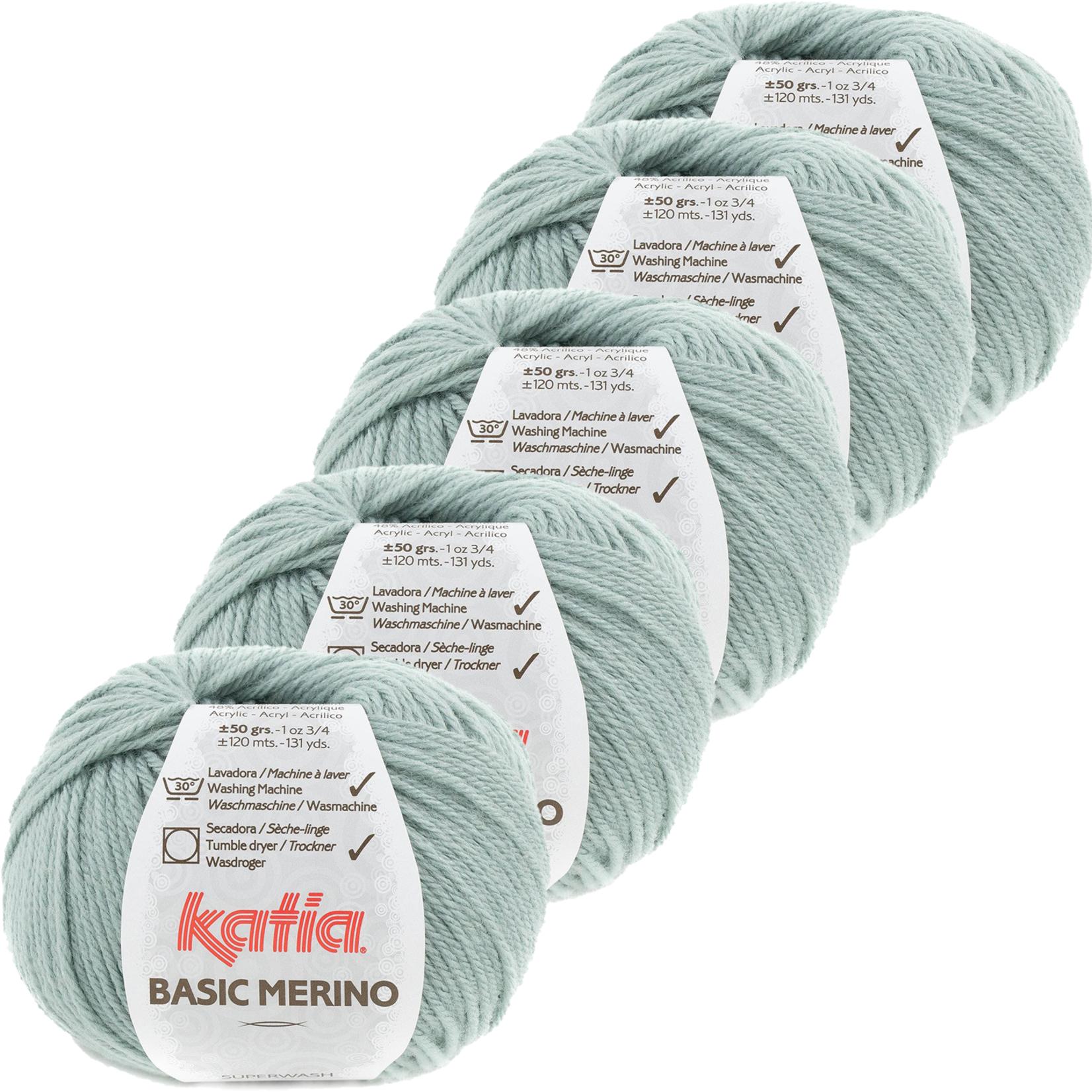 Katia Basic Merino - kleur 80_Witgroen - bundel 5 bollen 50 gr.  van 120 m.