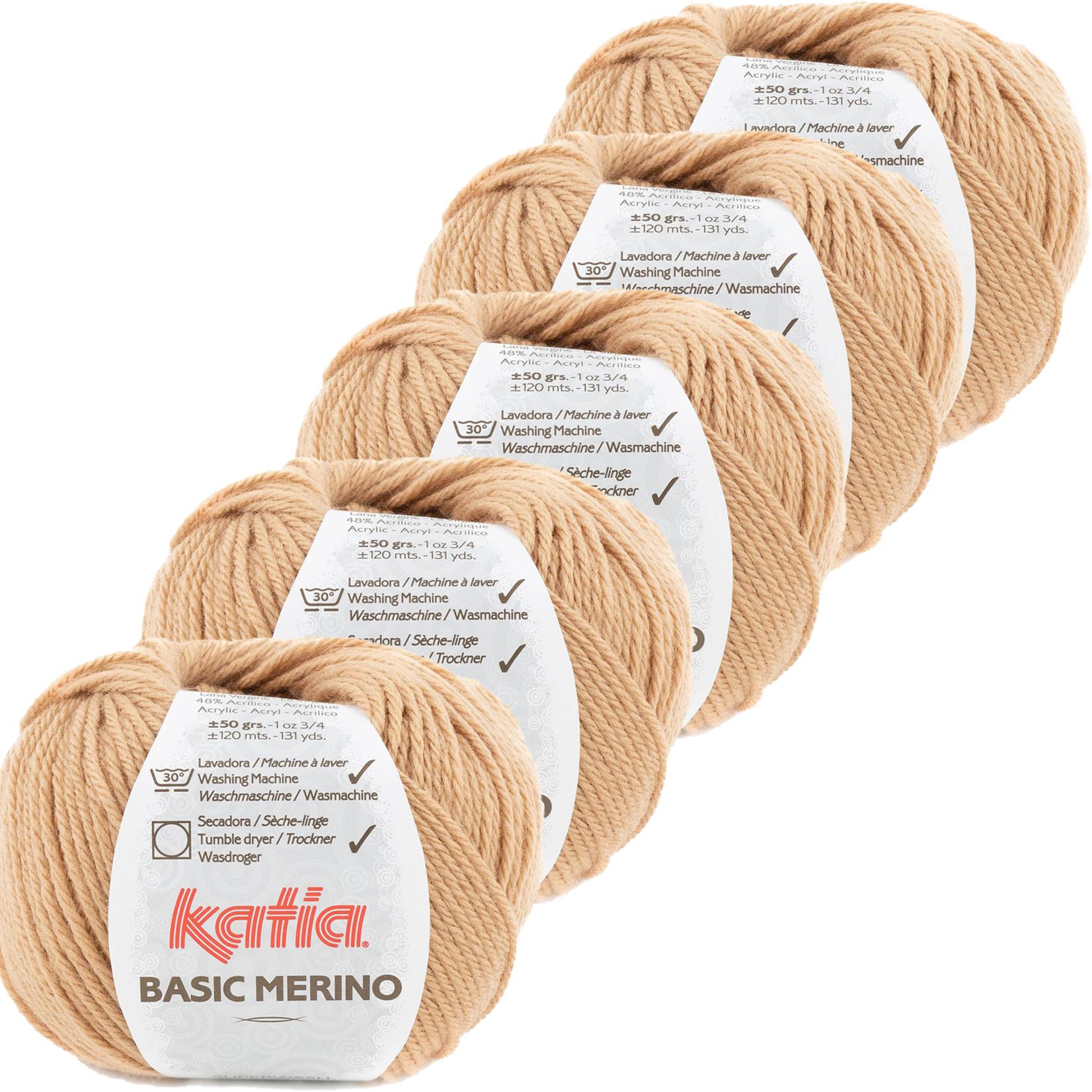 Katia Basic Merino - kleur 82_Zalmoranje - bundel 5 bollen 50 gr.  van 120 m.