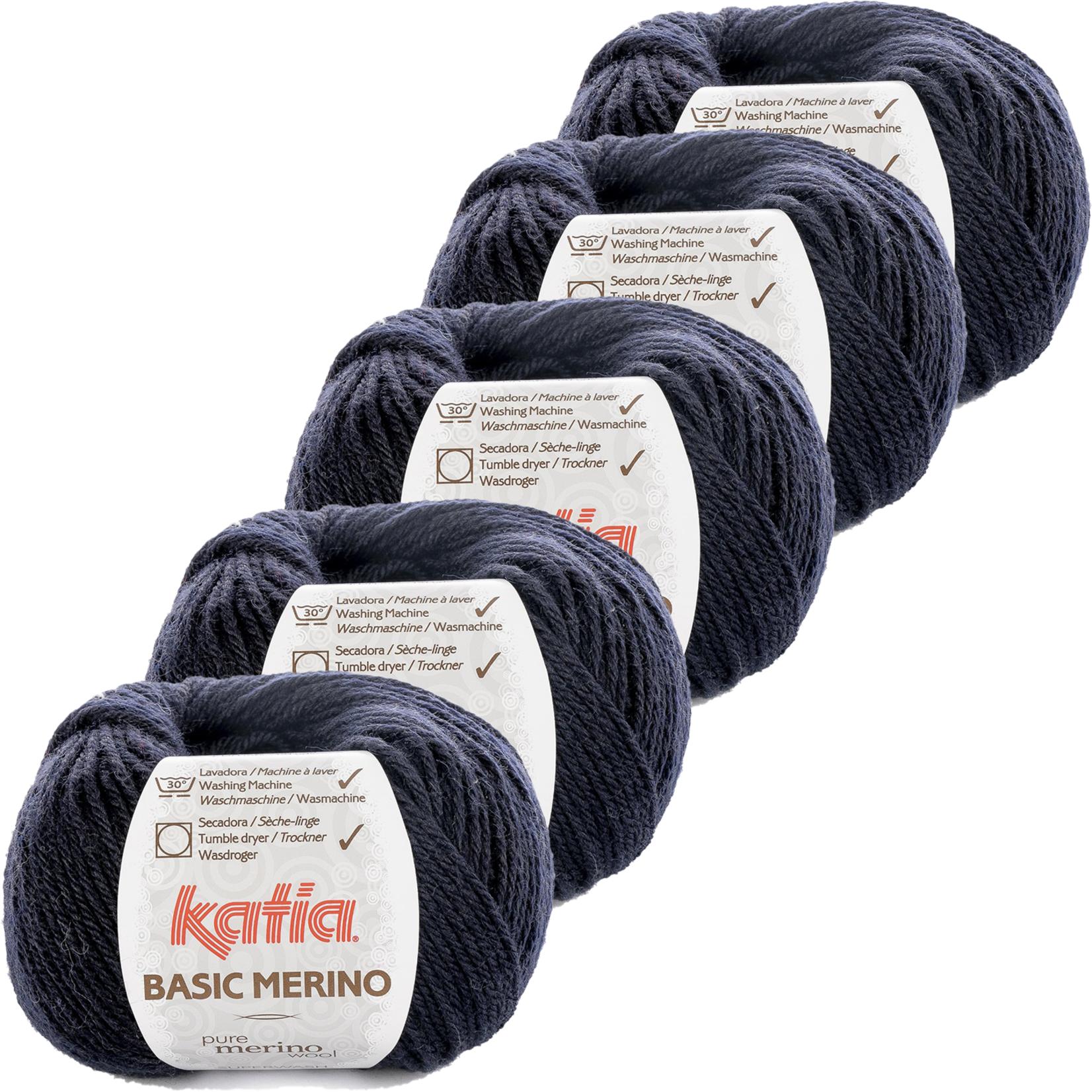 Katia Basic Merino - kleur 5_Zeer donker blauw - bundel 5 bollen 50 gr.  van 120 m.
