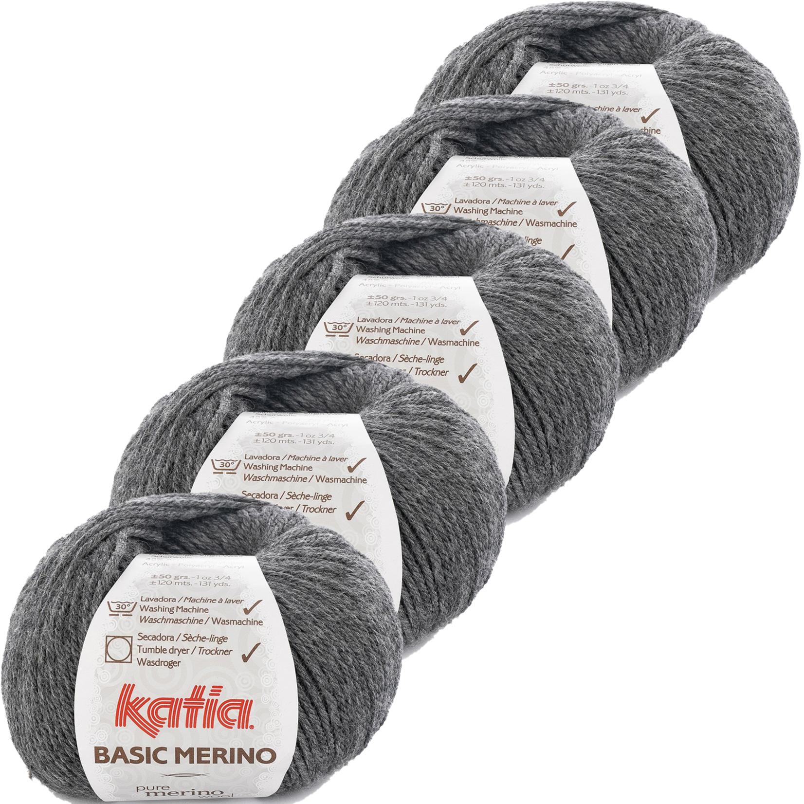 Katia Basic Merino - kleur 14_Zeer donker grijs - bundel 5 bollen 50 gr.  van 120 m.