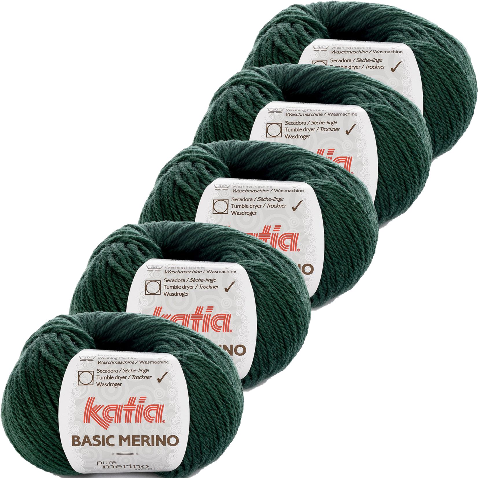 Katia Basic Merino - kleur 15_Zeer donker groen - bundel 5 bollen 50 gr.  van 120 m.