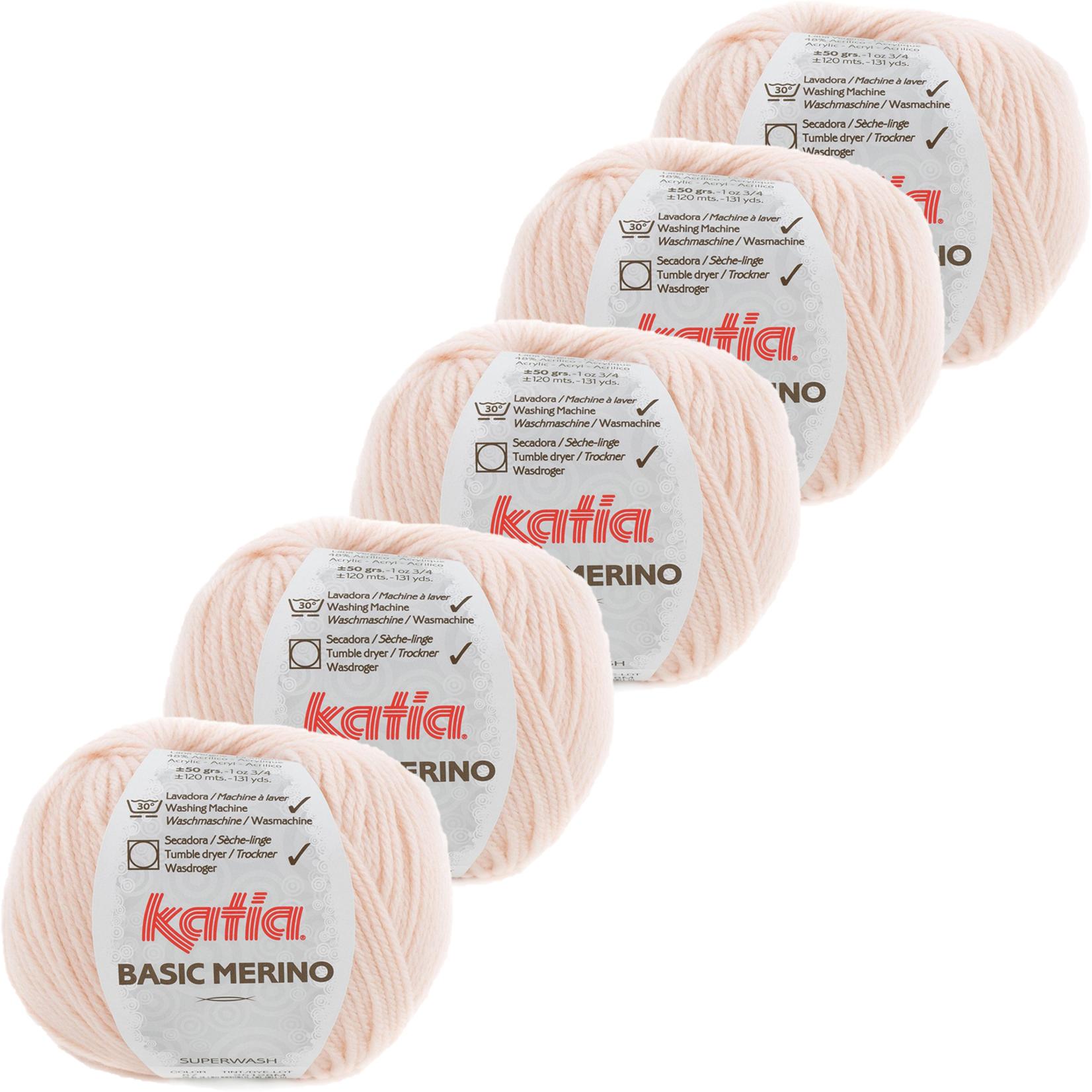 Katia Basic Merino - kleur 87_Zeer licht bleekrood - bundel 5 bollen 50 gr.  van 120 m.