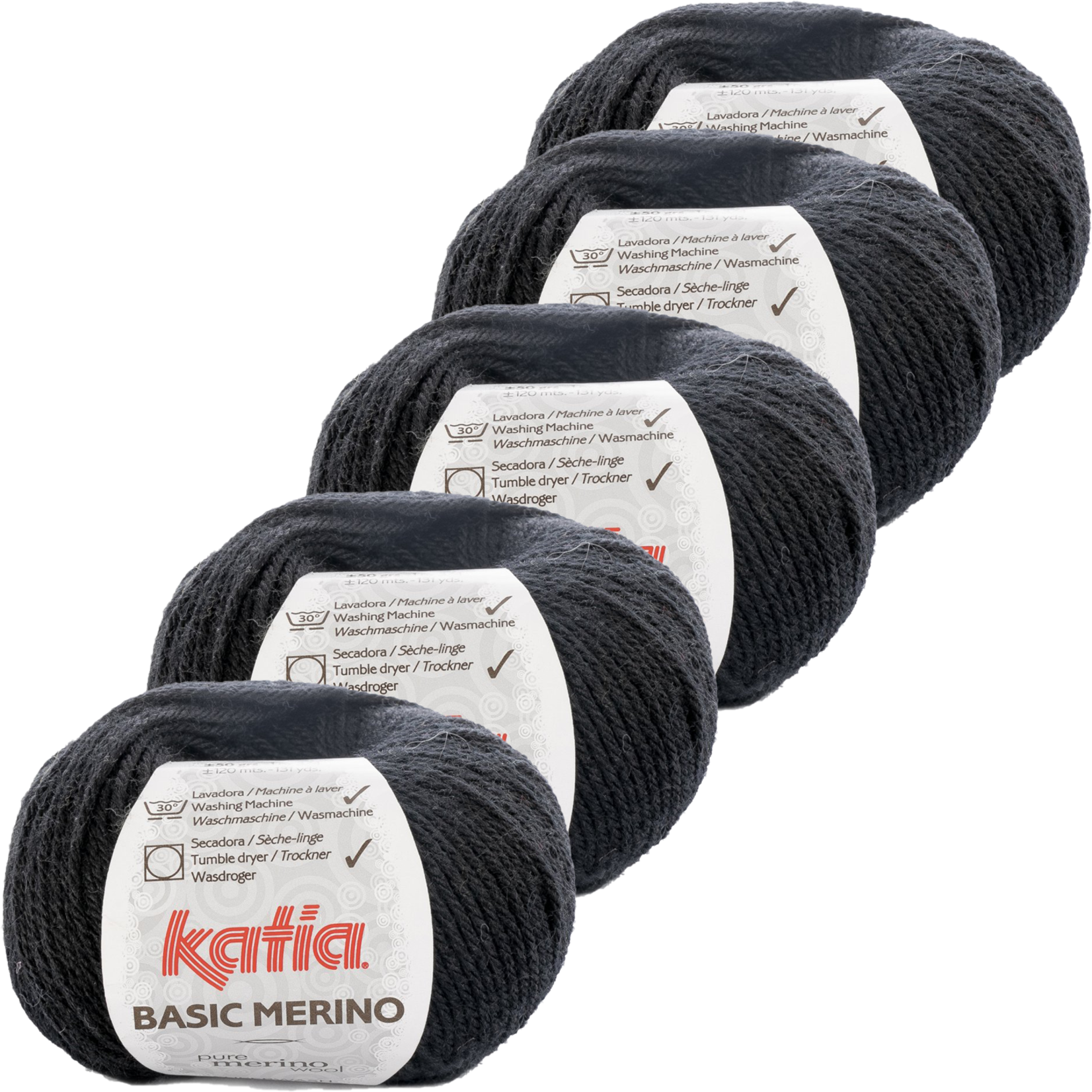 Katia Basic Merino - kleur 2_Zwart - bundel 5 bollen 50 gr.  van 120 m.