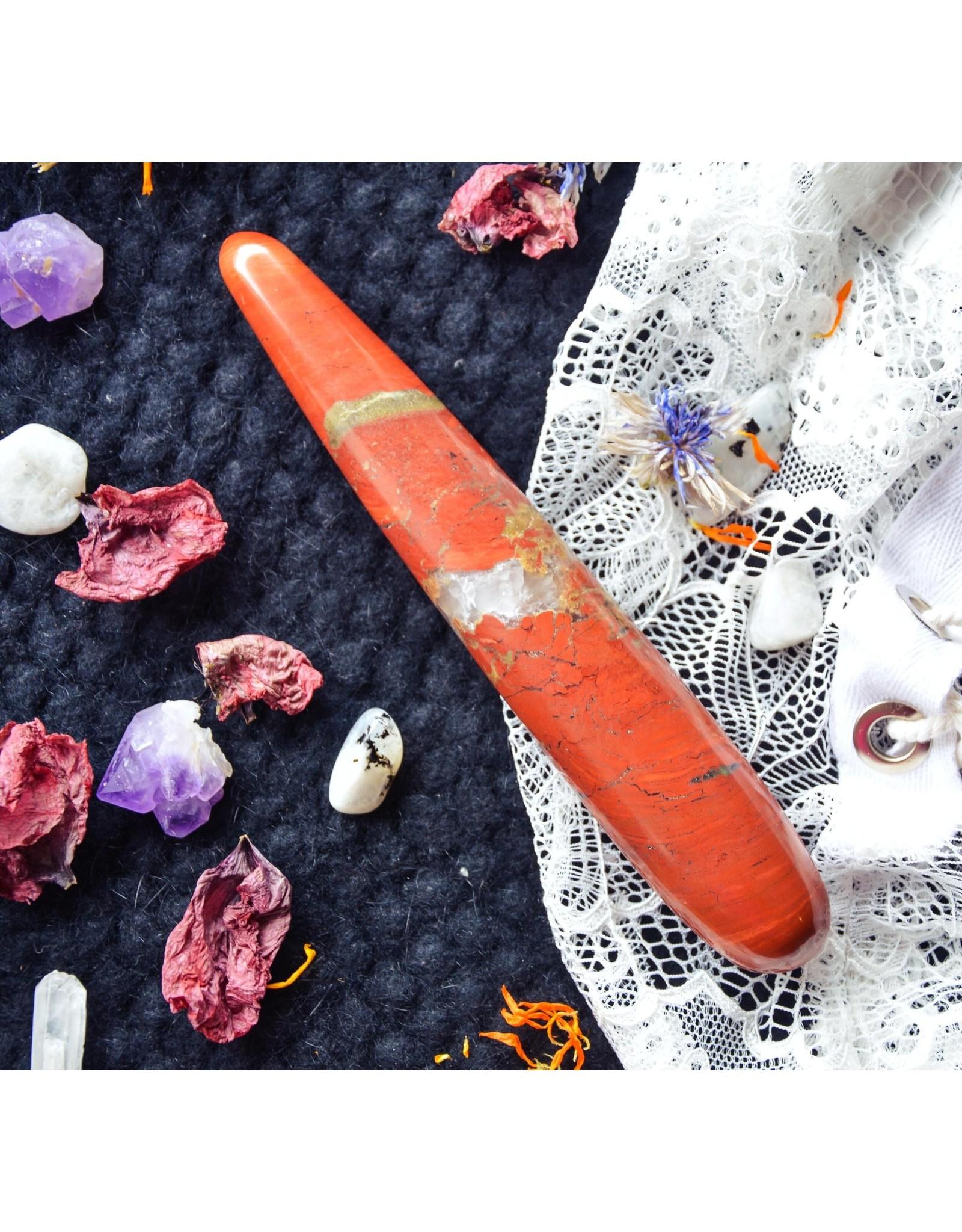 Crystal Pleasure Wand Jaspe Rouge