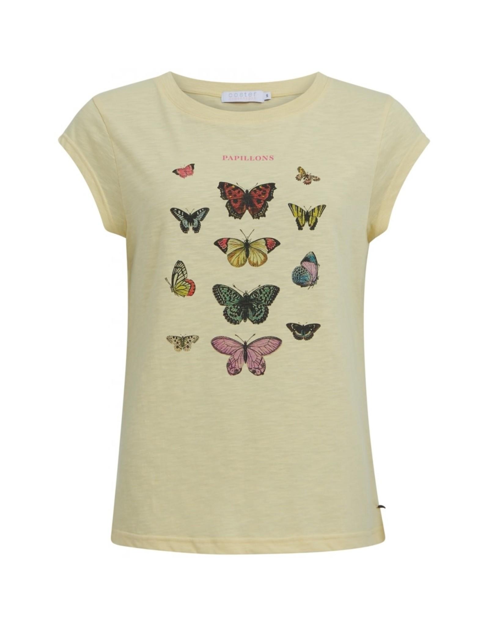 Coster Copenhagen T-shirt Butterfly Geel