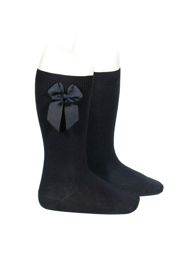 KNEE HIGH SOCKS WITH GROSSGRAIN SIDE BOW