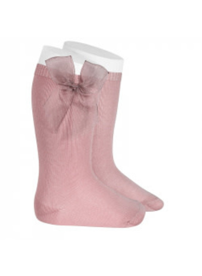 KNEE HIGH SOCKS WITH TULLE BOW