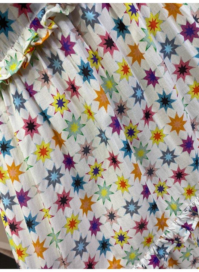 DRESS WHITE RAINBOW STARS
