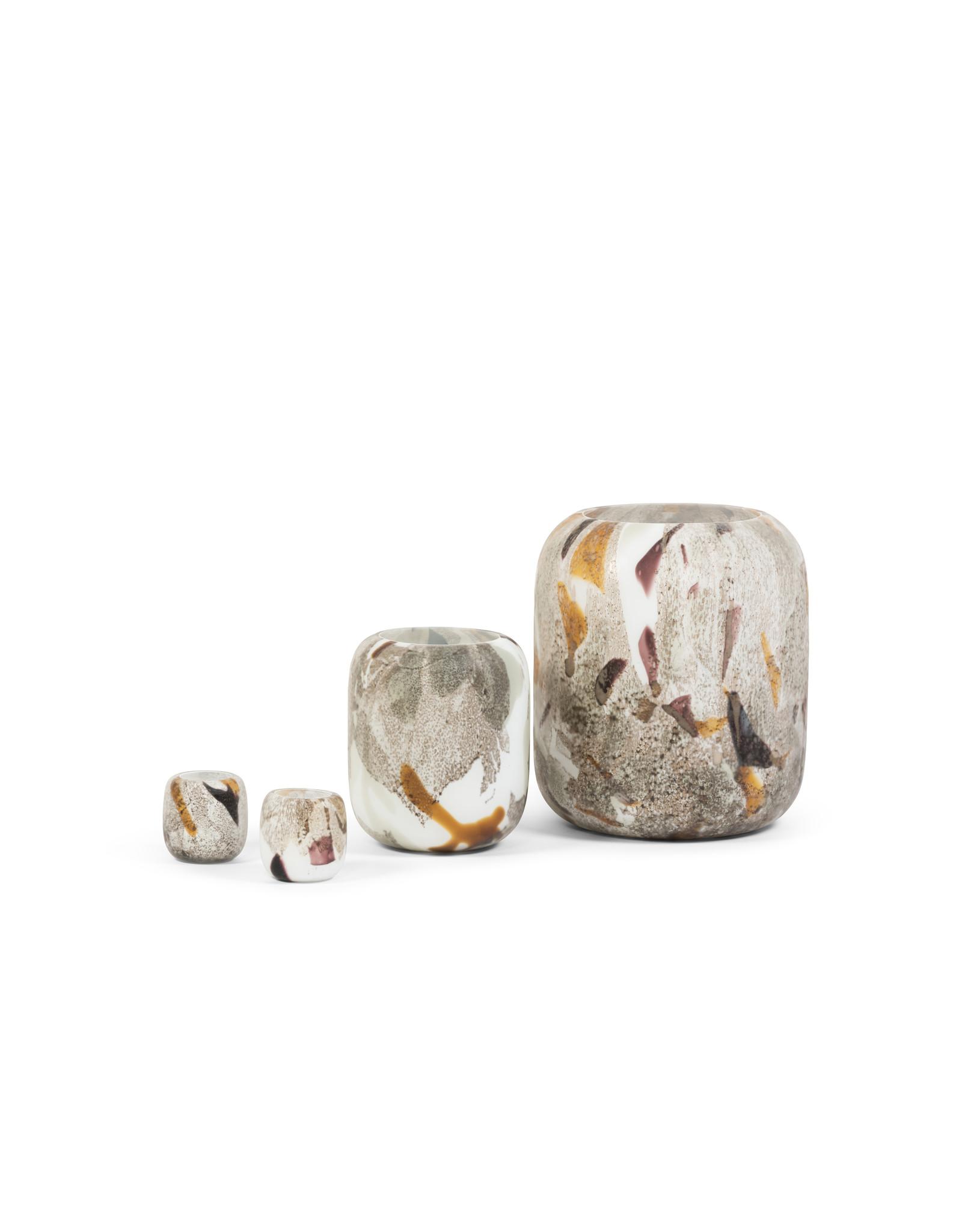 Theelichthouder matt camouflageglas medium