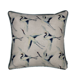 Kussen blauwe vogel vierkant