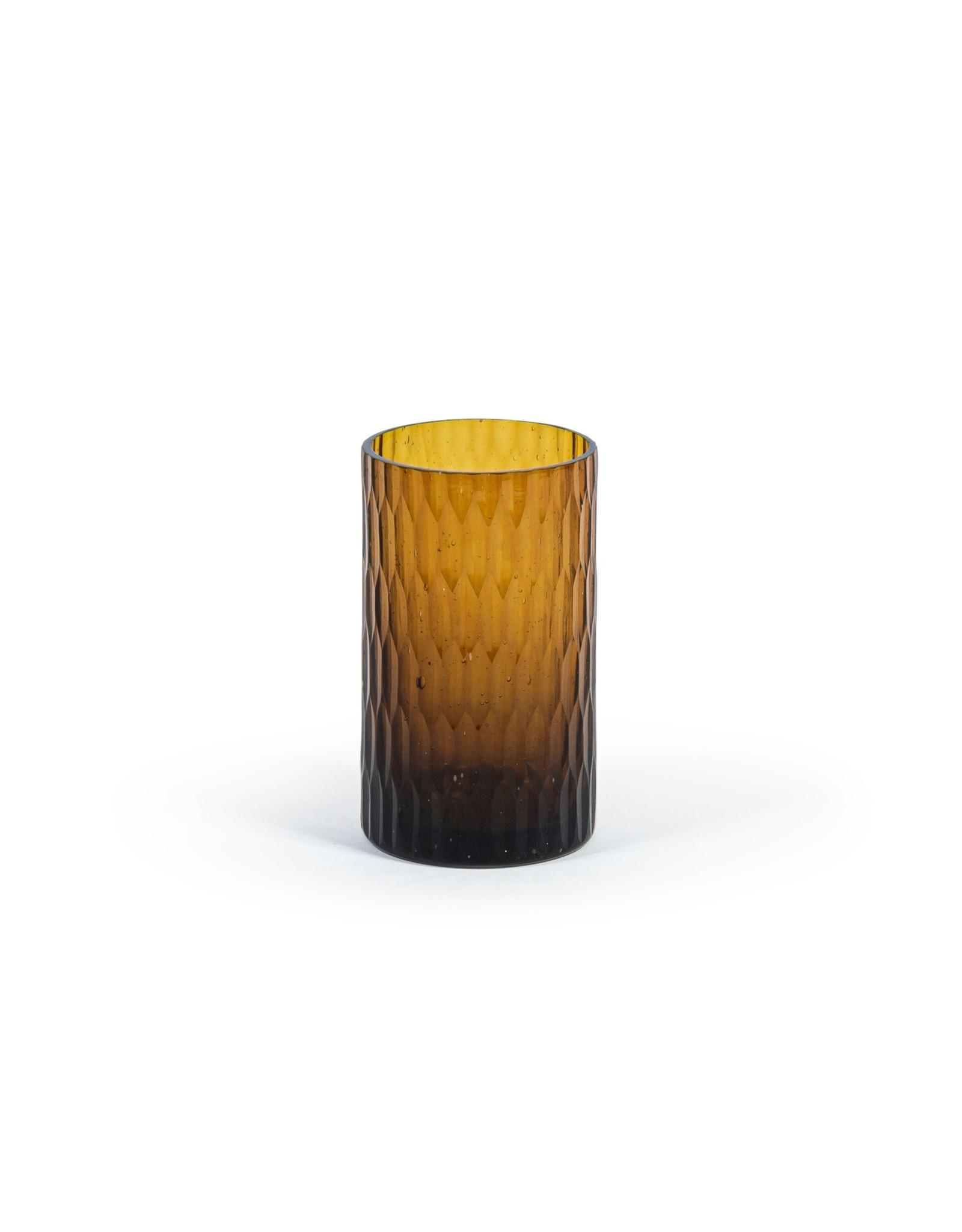 Theelichthouder glas amber 7,5 x 12 cm
