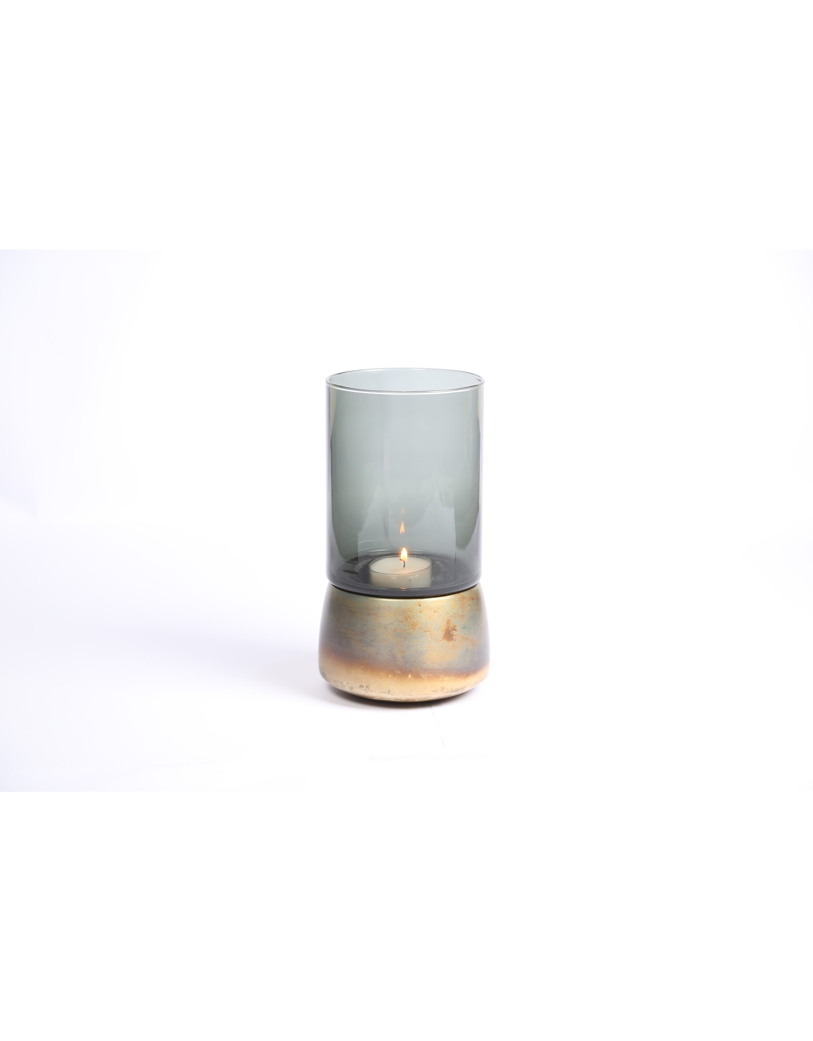 Theelichthouder met glas 16 x 10 cm