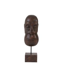 Ornament op voet masker hout bruin
