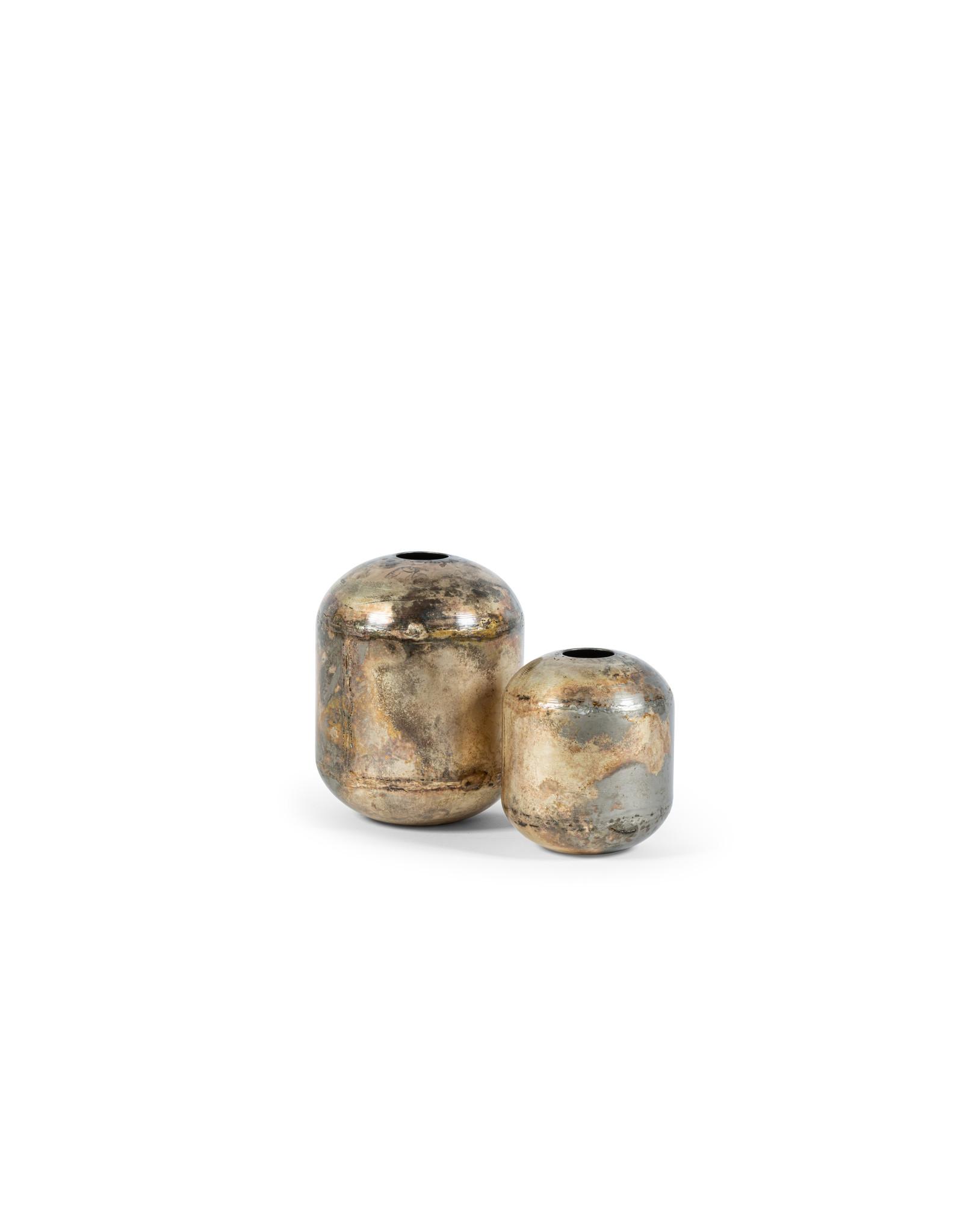 Vaas zilver metaal klein formaat