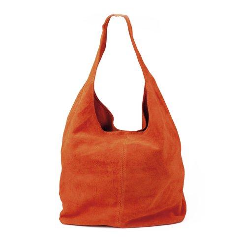 Suède hobo shopper in oranje