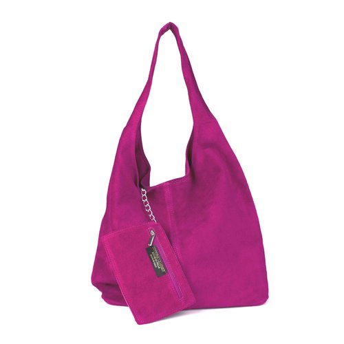 Suède hobo shopper in fuchsia