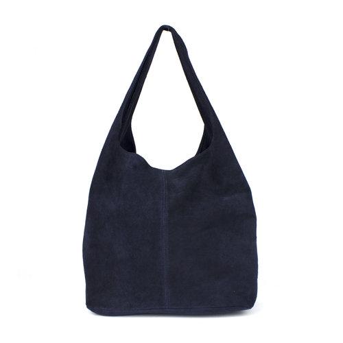 Suède hobo shopper in donkerblauw