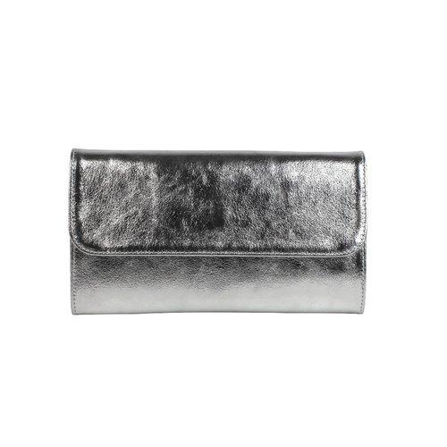 Zilverkleurige leren clutch schoudertasje