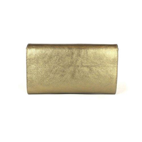Bronskleurige leren clutch, schoudertasje