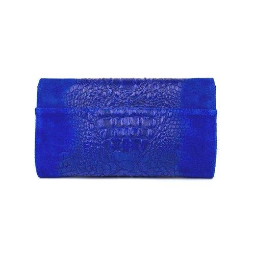 Kobaltblauwe suède clutch met krokoreliëf