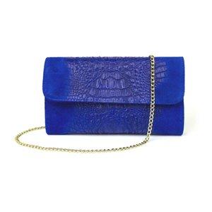 Kobaltblauwe clutch in suède kroko