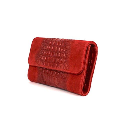Rode suède clutch met krokoreliëf
