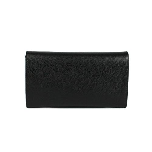 Zwarte leren clutch / schoudertasje
