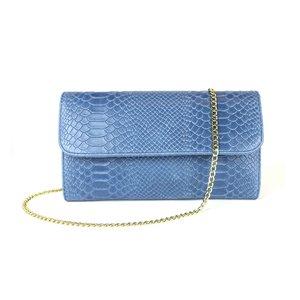 Jeansblauwe clutch slang