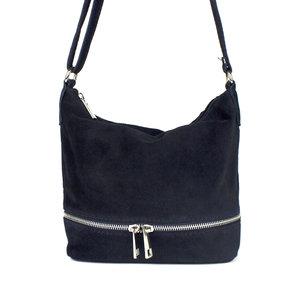 Donkerblauw schoudertasje met sierrits