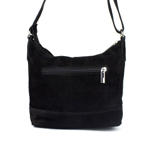 Zwart suède schoudertasje met sierrits