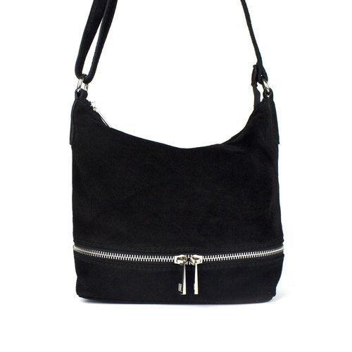 Zwart schoudertasje met sierrits