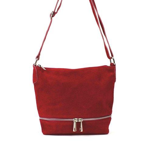 Rood schoudertasje met sierrits