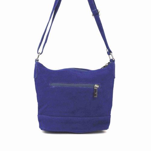 Kobaltblauw suède schoudertasje met sierrits