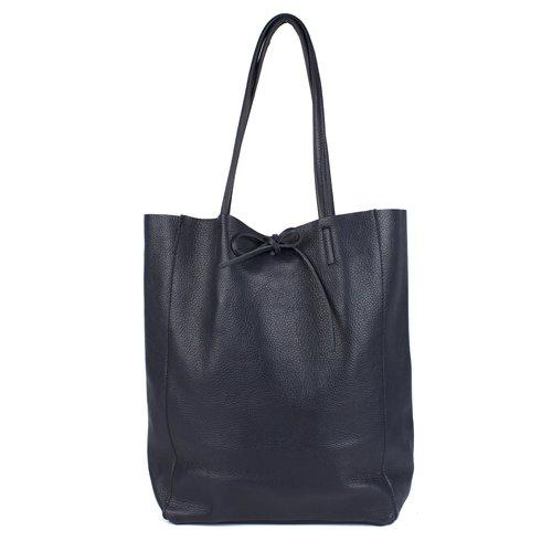 Donkerblauwe leren shopper / schoudertas met veter