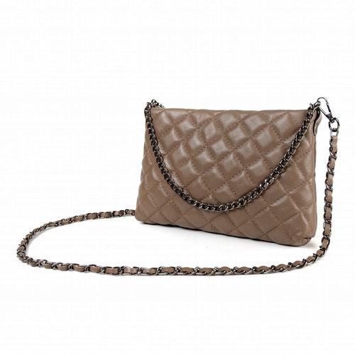 Taupe quilted schoudertasje