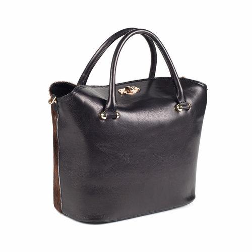 Zwarte leren handtas met bruine vacht