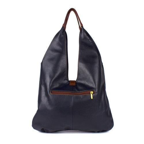 Donkerblauwe leren schoudertas met bruine accenten