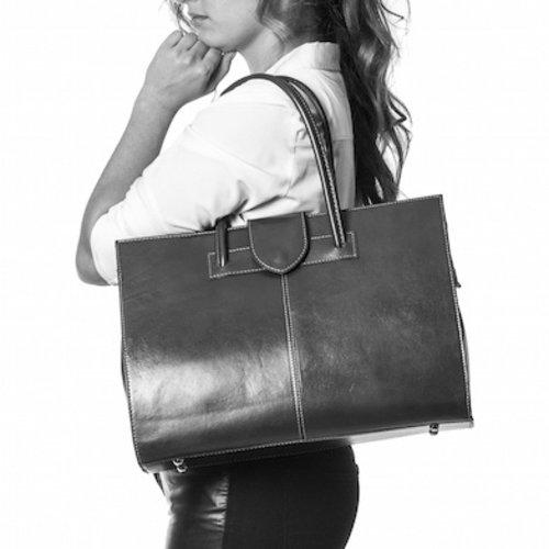 Donkerblauwe leren business- schoudertas