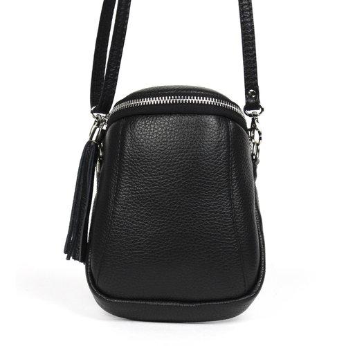 Zwart schoudertasje / telefoontasje