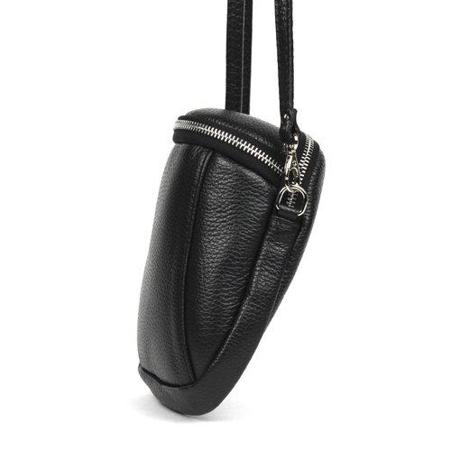 Zwart leren schoudertasje / telefoontasje
