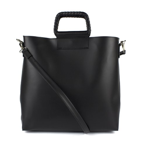 Zwarte handtas / schoudertas: bag in bag