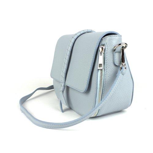Pastelblauw leren schoudertasje met decoratieve band