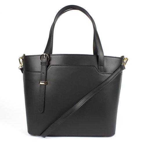 Zwarte leren handtas met asymmetrische hengels